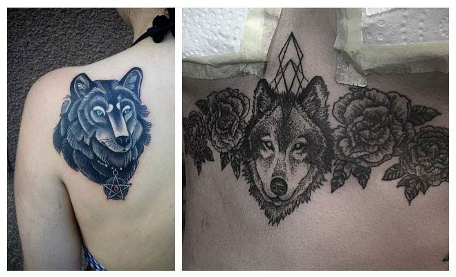 Tatuajes de lobos con flores