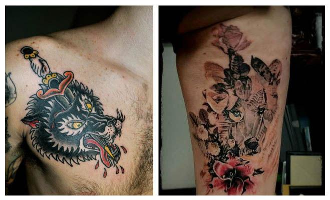 Tatuajes de lobos con rosas