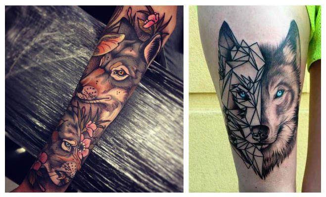 Tatuajes de lobos mirando fijamente