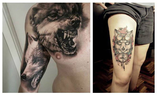 Tatuajes de lobos en el pecho