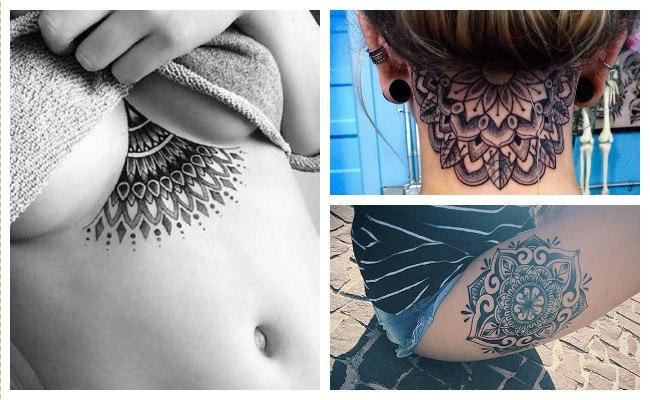 Tatuajes de mandalas en el cuello
