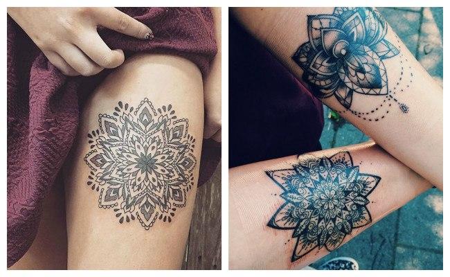 Tatuaje de mandala y flor