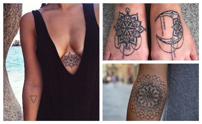 Tatuajes de mandala en forma de luna