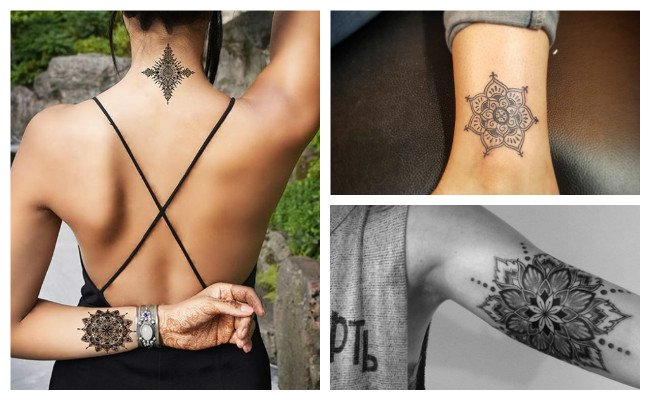 Tatuaje de mandala pequeño para mujer