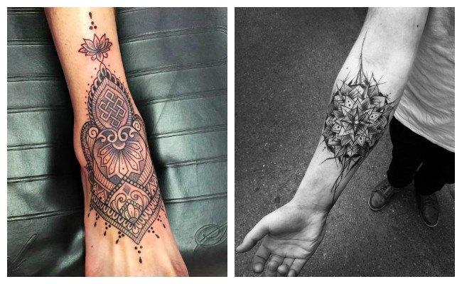 Tatuaje de mandala en el pie