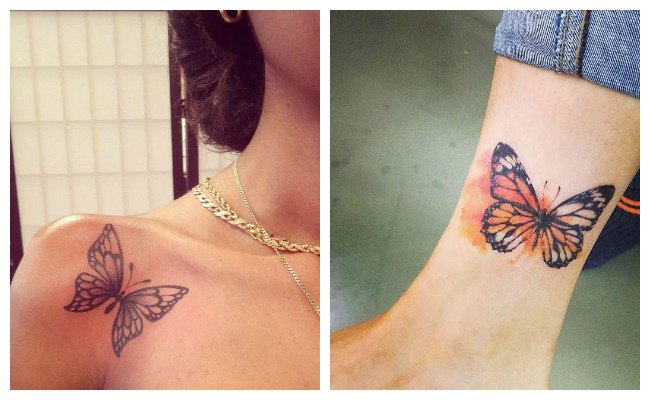 Tatuajes de mariposas en acuarela