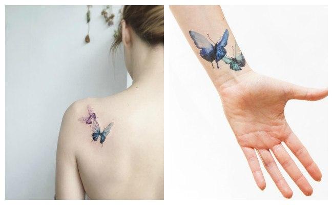 Tatuajes de mariposas y estrellas