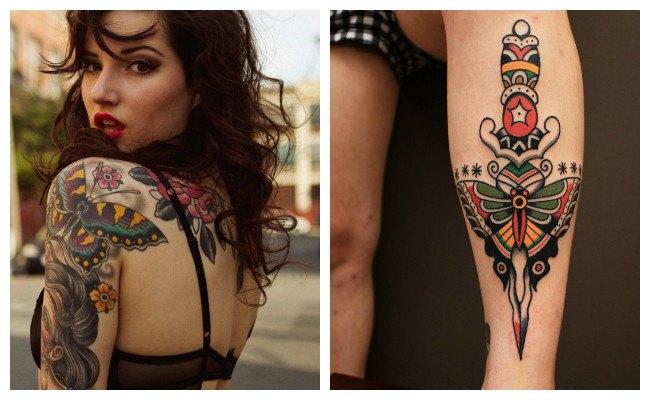 Tatuajes de mariposas y flores