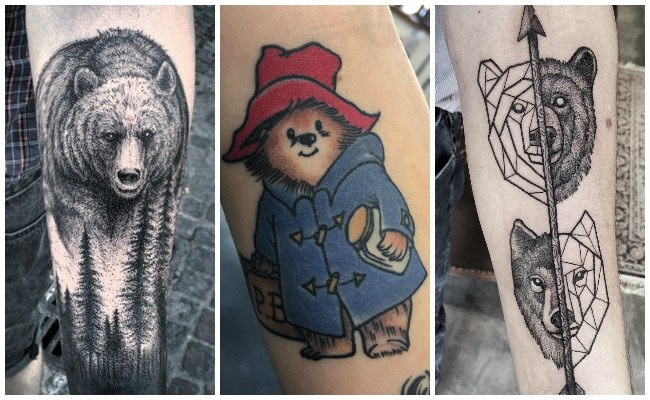 Tatuajes de osos desgarrando la piel