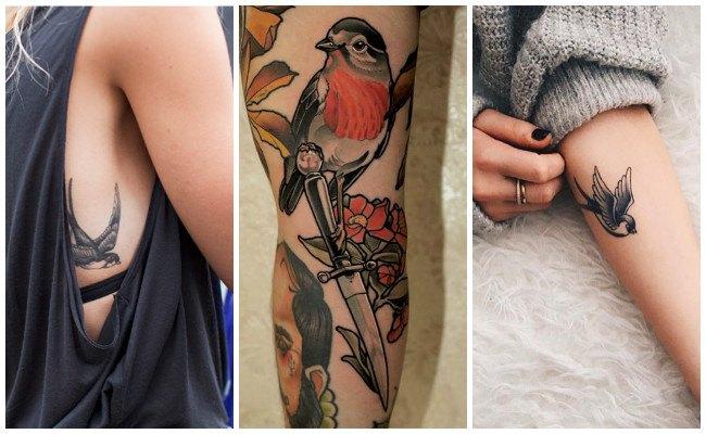 Tatuajes de pájaros en el hombro