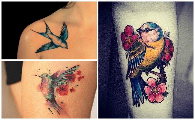 Tatuajes de pájaros en la muñeca