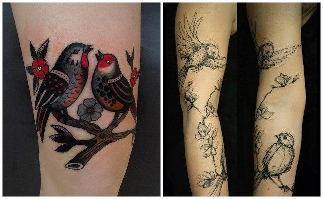 Tatuajes de pájaros en el pecho