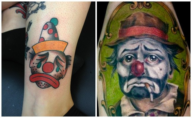 Tatuajes de payasos fumando