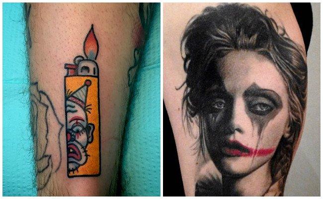 Tatuajes de payasos en la mano