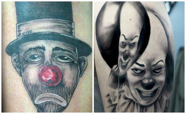 Tatuajes de payasos riendo y llorando