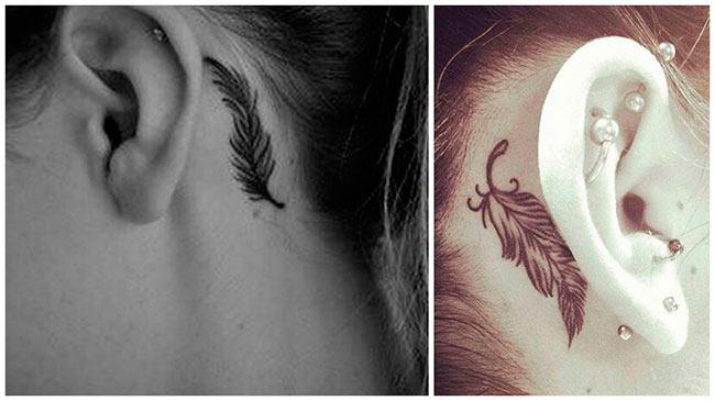 Tatuajes de plumas en el cuello