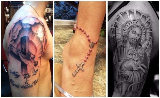 Tatuajes de rosarios en la pierna