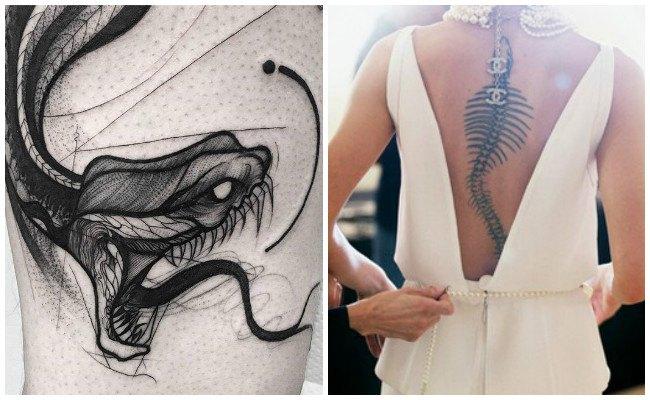 Tatuajes de serpientes geométricos