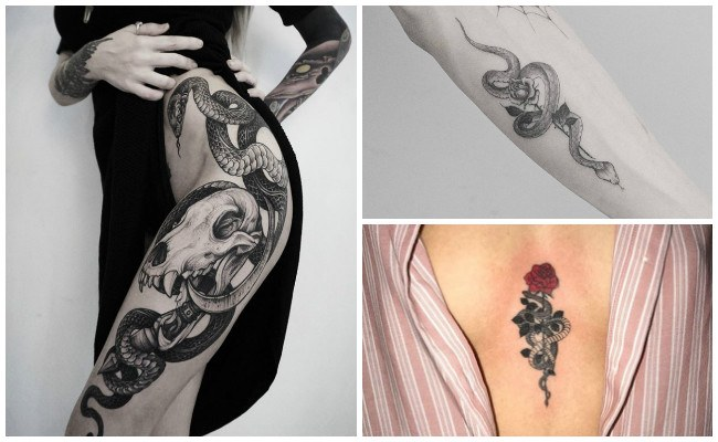 Tatuajes de serpientes para mujer