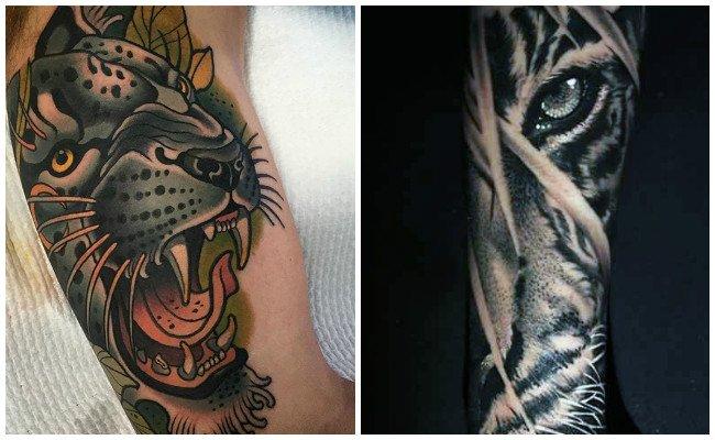 Tatuajes de tigres en el brazo de mujer