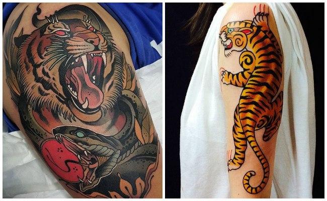 Tatuajes de tigres en la espalda