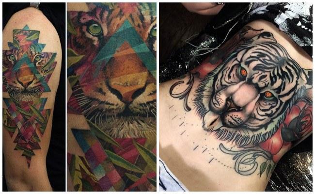 Tatuajes de tigres en la mano