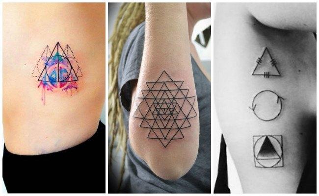 Tatuajes de triángulos con línea