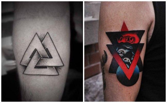 Tatuajes de triángulos entrelazados
