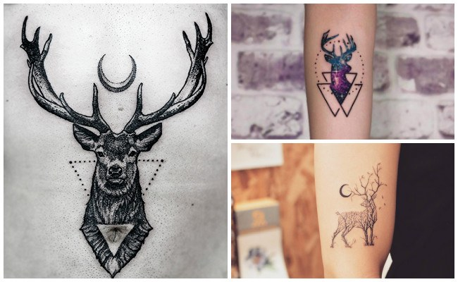 Tatuajes de venados en acuarela
