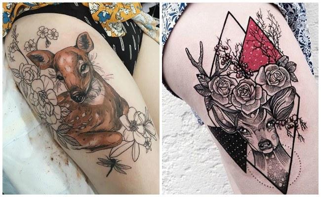 Tatuajes de venados en la espalda