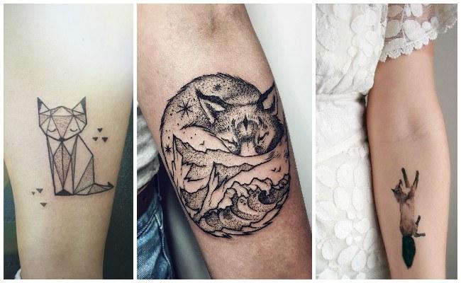 Tatuajes de zorros en el antebrazo