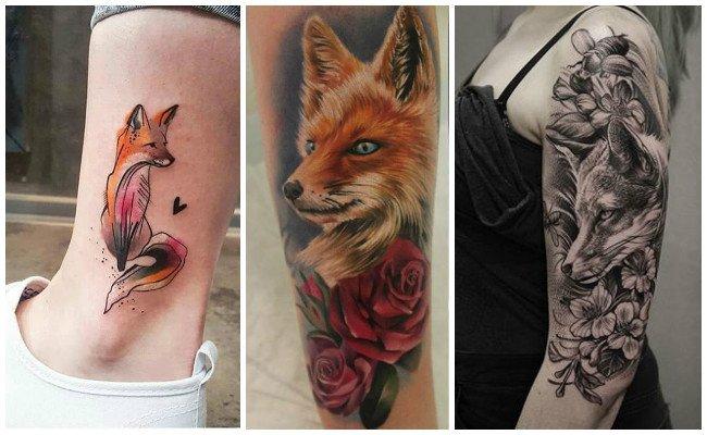 Tatuajes de zorros con flores