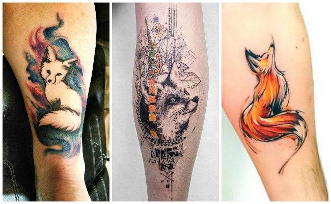 Tatuajes de zorros tipo ilustración