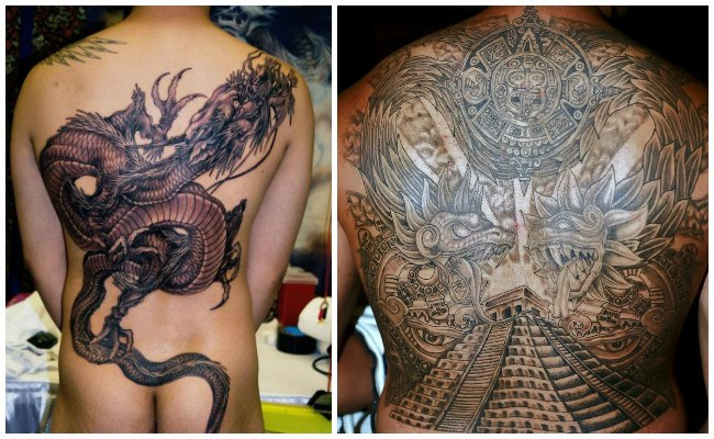 Tatuajes en la espalda con letras chinas