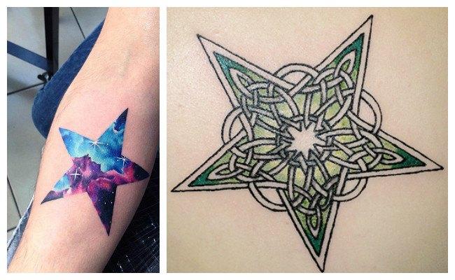 Tatuajes de estrellas a color de hombres