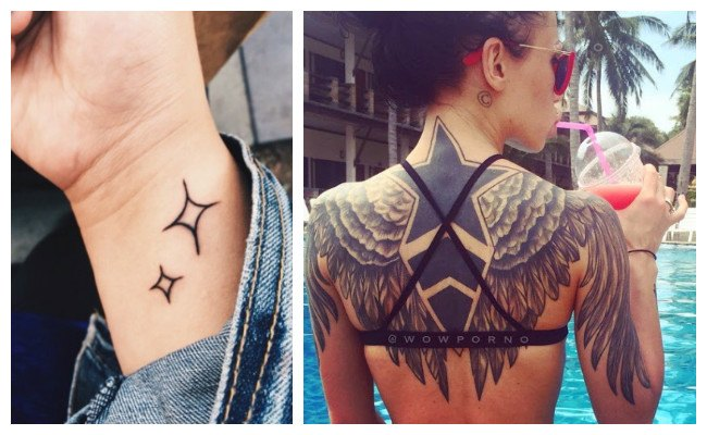 Tatuajes de estrellas con alas