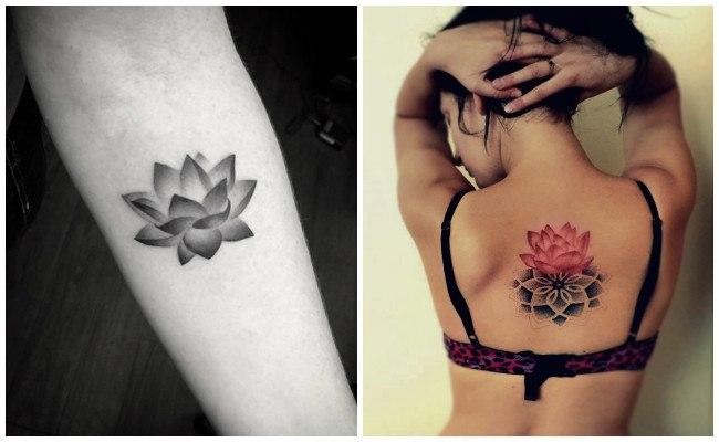 Tatuajes de flor de loto en la cadera