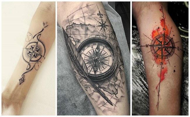 Tatuajes de mapas con brújulas