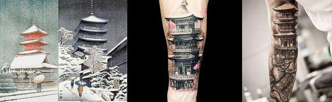 tatuajes orientales en el brazo de templos