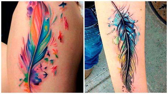 Tatuajes de plumas a color