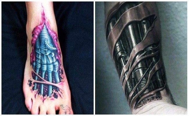 Tatuajes roboticos de engranajes y pistones