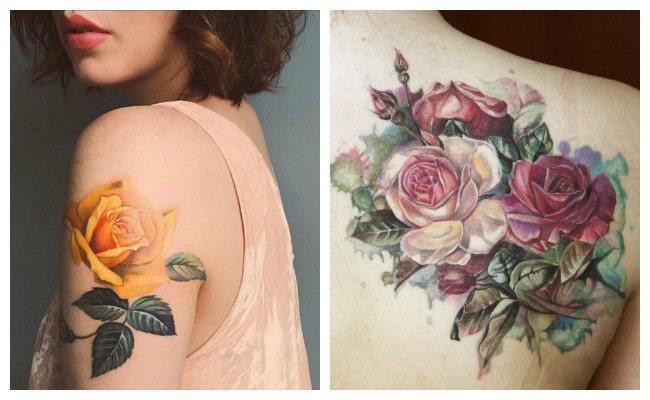 Tatuajes de rosas amarillas