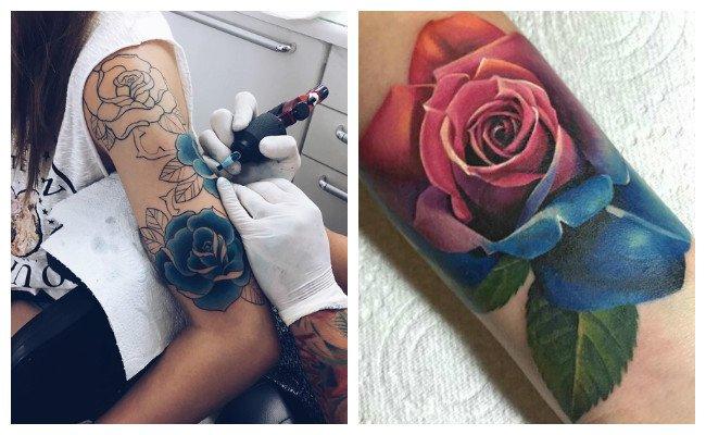 Tatuajes de rosas brazo completo