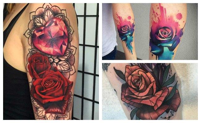 Tatuajes de rosas en color