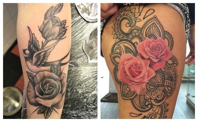 Tatuajes de rosas en el muslo