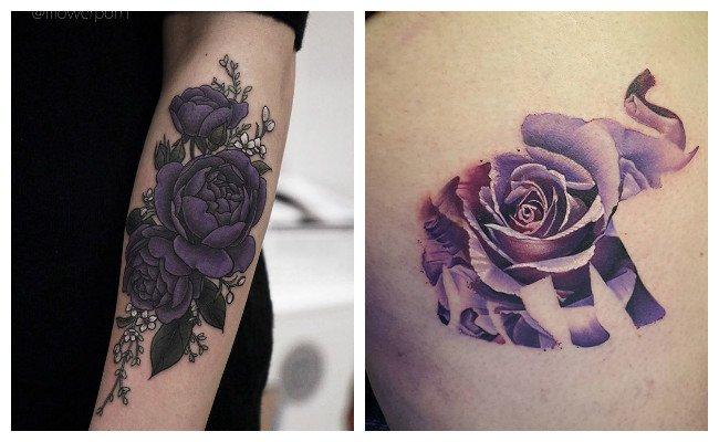 Tatuajes de rosas moradas