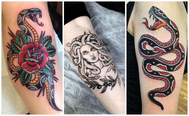Tatuajes de serpientes con espadas