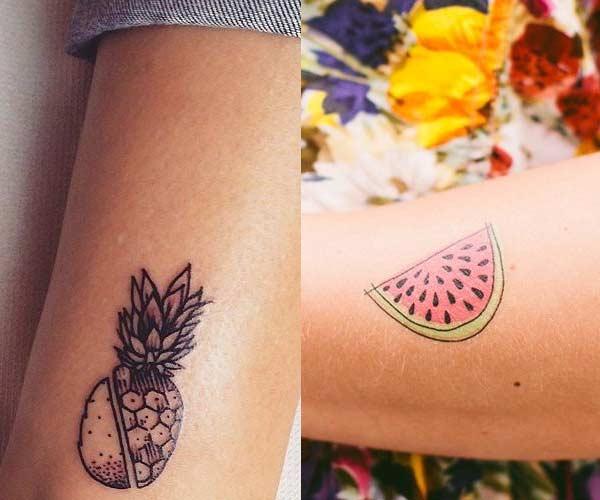 Pequeños tatuajes de frutas