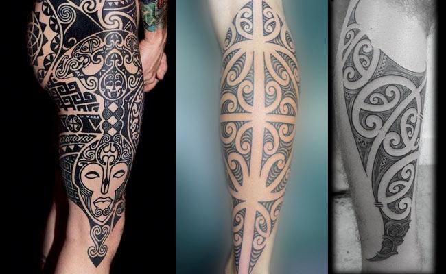 Tatuajes maoris en el gemelo para hombre